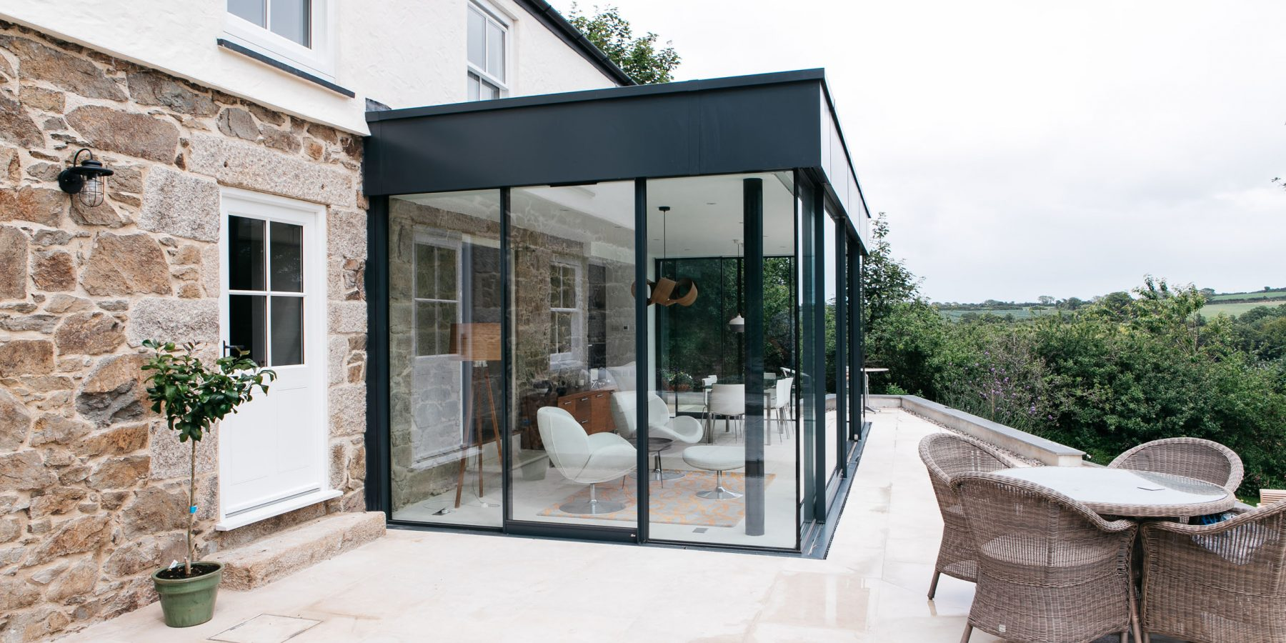 Glass conservatory on the exterior of a house