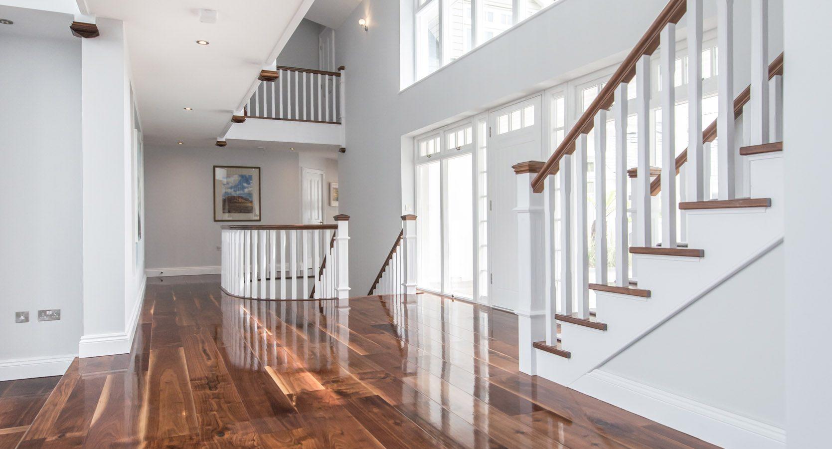Glossy wood floor in light hall
