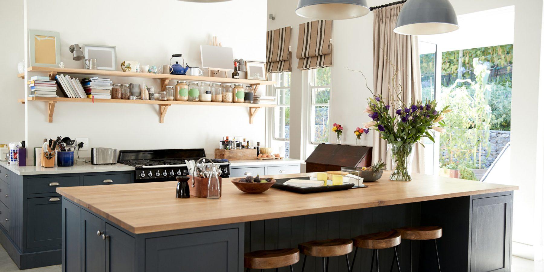 Bespoke kitchen with dark island unit